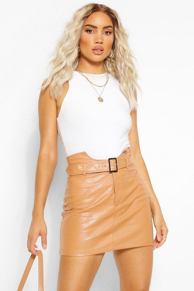 Boohoo Leather Look Waist Detail Belted Skirt in nude