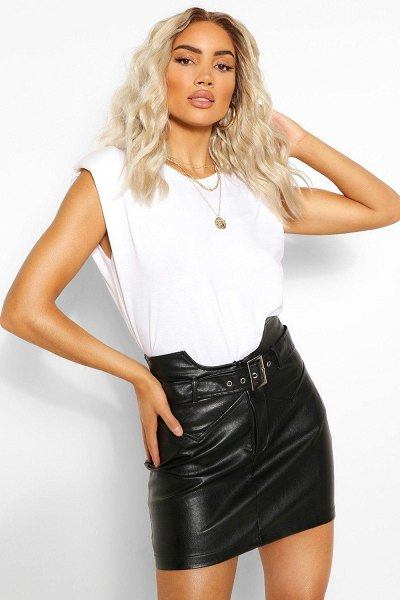 Boohoo Leather Look Waist Detail Belted Skirt in black