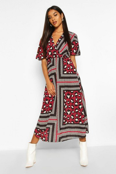 Boohoo Leopard Geo Print Ruffle Sleeve Midaxi Dress in burgundy