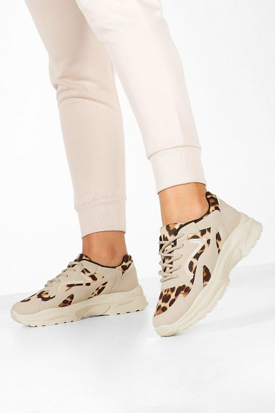 Boohoo Leopard Panel Chunky Sole Sneakers in sand