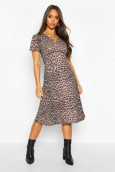 Boohoo Leopard Print Ruched Front Midi Dress in leopard