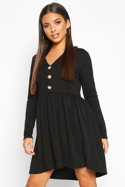 Boohoo Long Sleeve Button Detail Smock Dress in black
