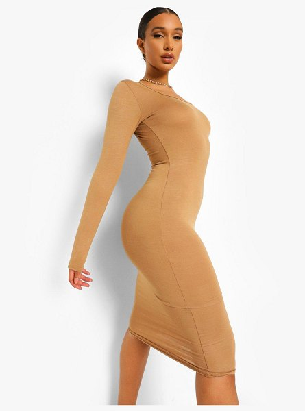 Boohoo Long Sleeve Midi Boydcon Dress in camel