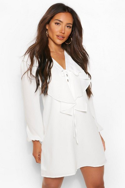 Boohoo Long Sleeve Ruffle Tie Detail Smock Dress in ivory