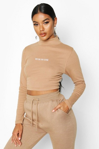 Boohoo Long Sleeve Slogan High Neck Rib Crop in camel