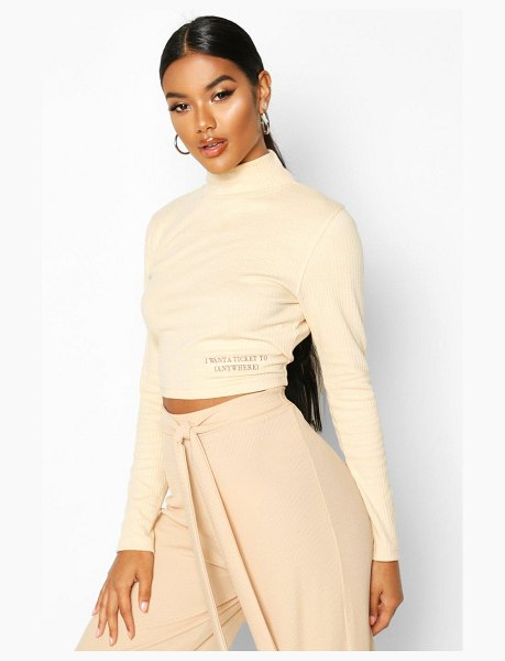 Boohoo Long Sleeve Small Slogan High Neck Crop in stone