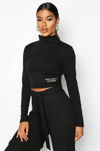 Boohoo Long Sleeve Small Slogan High Neck Crop in black