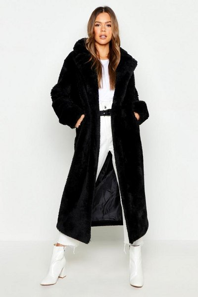 Boohoo Longline Faux Fur Teddy Coat in black - Wrap up in the latest coats and jackets and get...