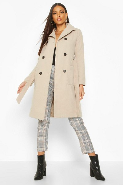Boohoo Longline Pocket Detail Wool Look Trench Coat in stone