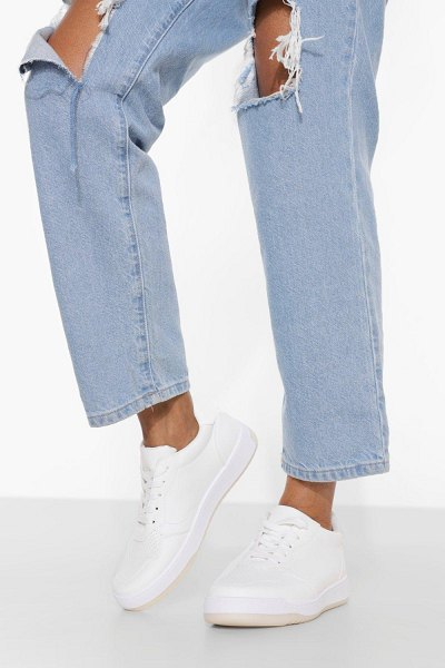 Boohoo Low Top Lace Up Trainer in white
