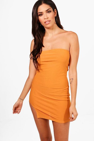 Boohoo Bandeau Thigh Split Bodycon Dress in leaf green - Dresses are the most-wanted wardrobe item for...