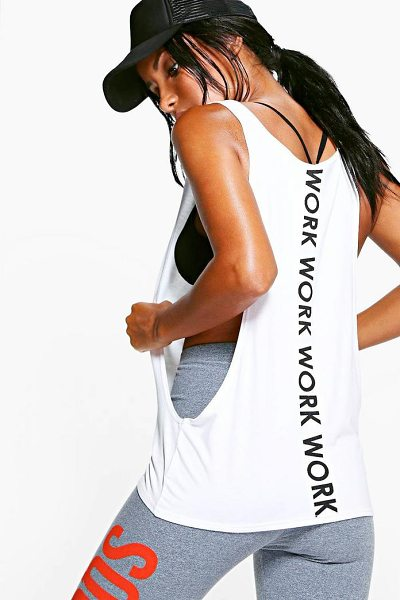 Boohoo Fit Work Slogan Running Tank Top in white