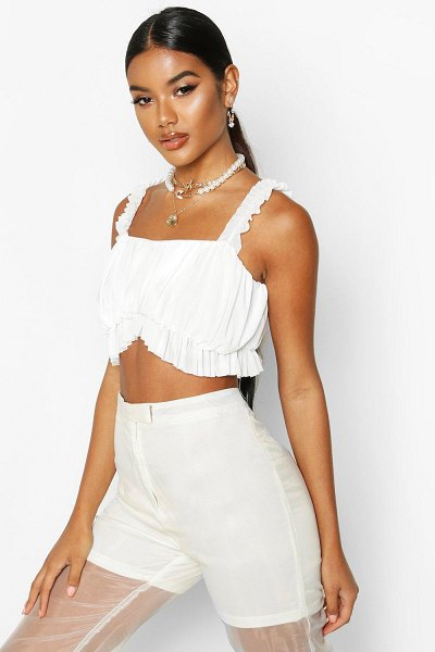 Boohoo Mesh Ruched Crop Top in white