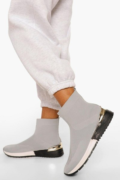 Boohoo Metal Trim Knitted Sock Sneakers in grey