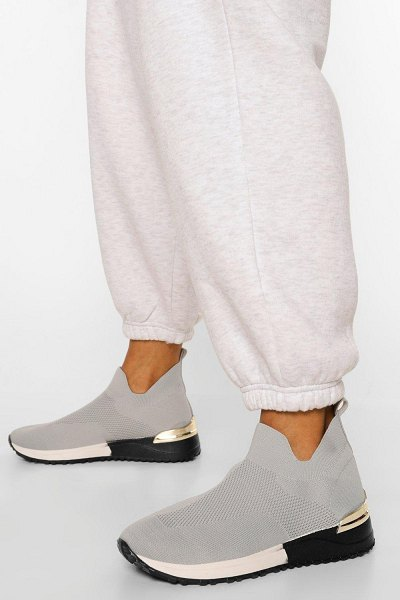Boohoo Metal Trim Low Knitted Sock Sneakers in grey
