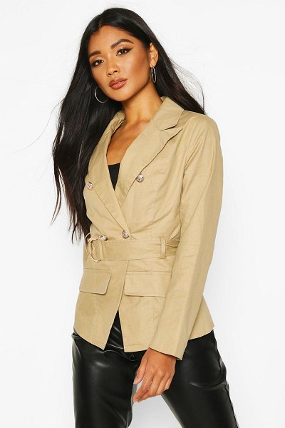 Boohoo Military Detail Belted Twill Blazer in stone
