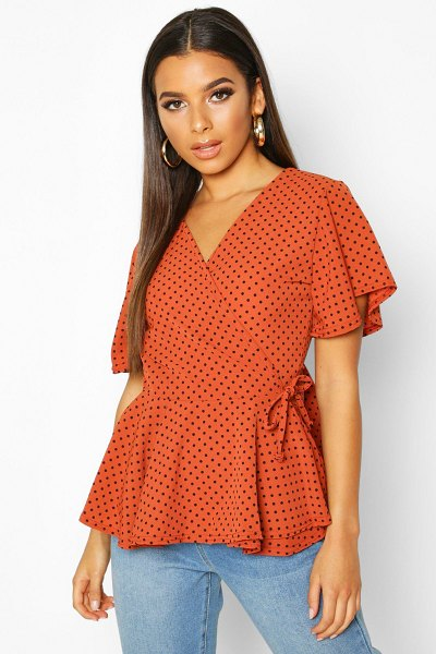 Boohoo Mini Polka Dot Woven Wrap Top in rust