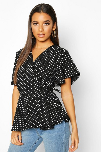 Boohoo Mini Polka Dot Woven Wrap Top in black