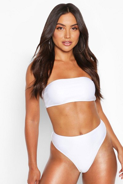 Boohoo Mix & Match High Waisted Bikini Brief in white