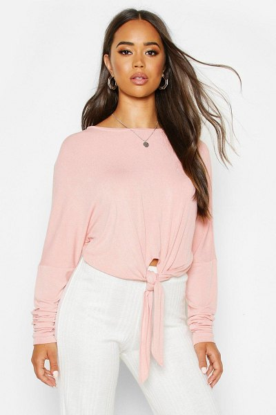 Boohoo Mix & Match Knot Front Soft Lounge Top in blush