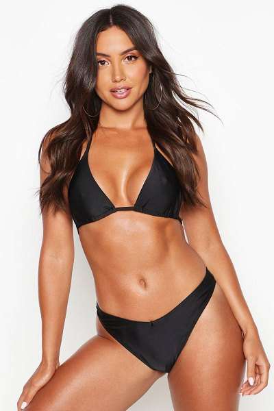 Boohoo Mix & Match Triangle Bikini Top in black