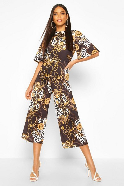Boohoo Mixed Chain Print Flared Sleeve Culotte Jumpsuit in black