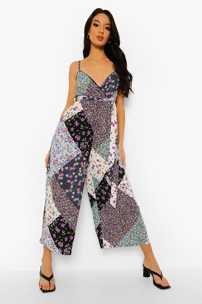 Boohoo Mixed Floral Tie Waist Culotte Jumpsuit in lilac