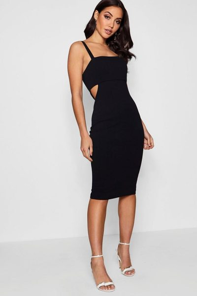 5f1f9bad521 Boohoo Square Neck Cut Out Side Midi Dress in berry - Dresses are the most-