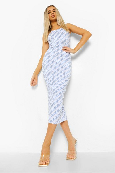 Boohoo Monogram Sleeveless Midaxi Dress in blue