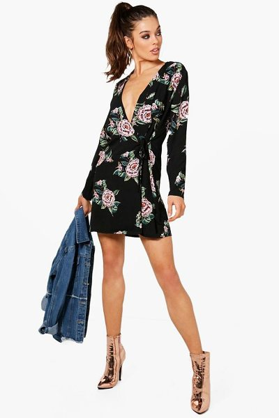 0320c9d83d Floral Print Tie Side Wrap Shift Dress.  17 ( 44). Buy at boohoo.com.  Details. Dresses are the most-wanted wardrobe item ...