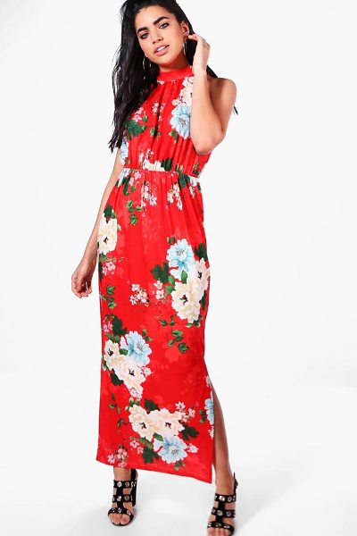 c5288b4b4f4a Boohoo Natalie Floral High Neck Split Front Maxi Dress in Red ...