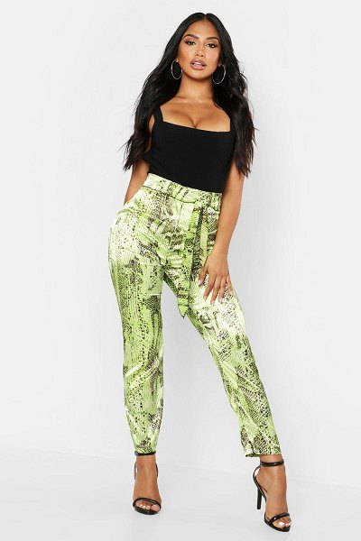 Boohoo Neon Snake Tie Waist Slim Fit pants in lime