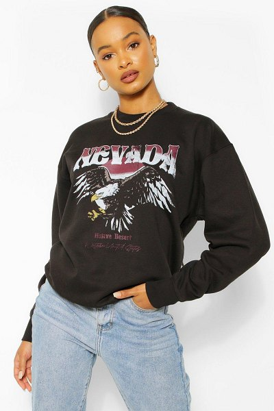 Boohoo Nevada Graphic Oversized Sweater in black