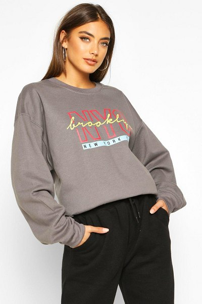 Boohoo NYC Brooklyn Slogan Print Sweatshirt in charcoal