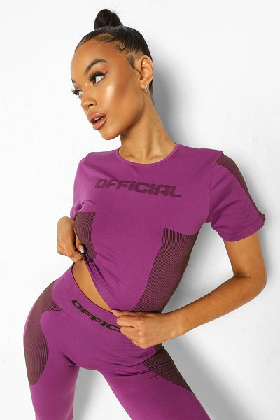 Boohoo Ofcl Seamfree Contour Active Tee in purple