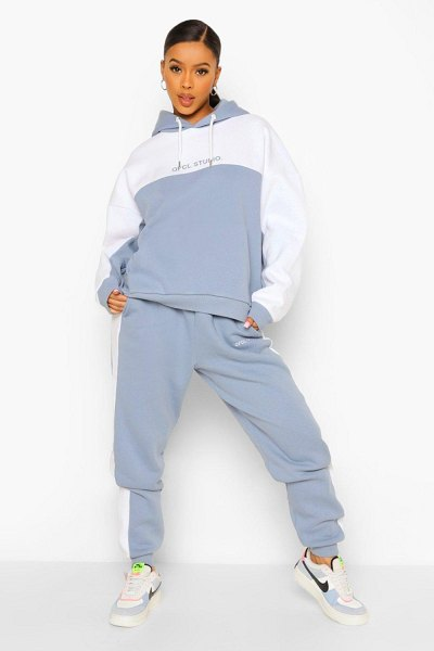 Boohoo Ofcl Studio Colour Block Tracksuit in blue