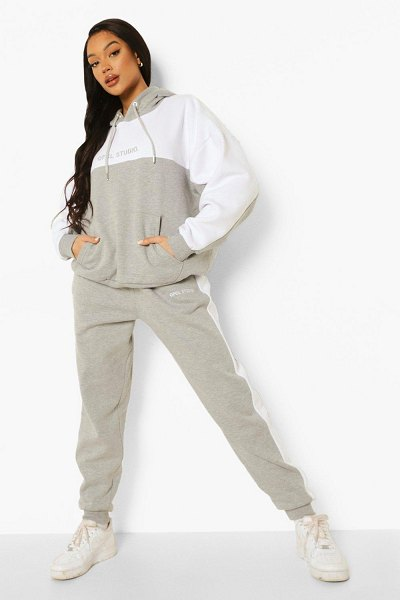 Boohoo Ofcl Studio Colour Block Tracksuit in grey marl