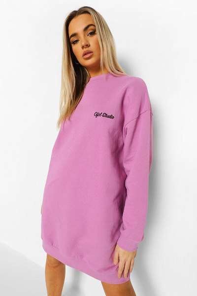 Boohoo Ofcl Studio Embroidered Sweat Dress in lilac