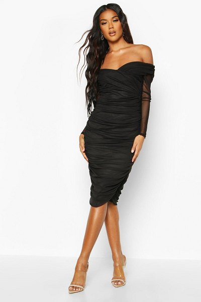Boohoo Off Shoulder Ruched Mesh Bodycon Midi Dress in black