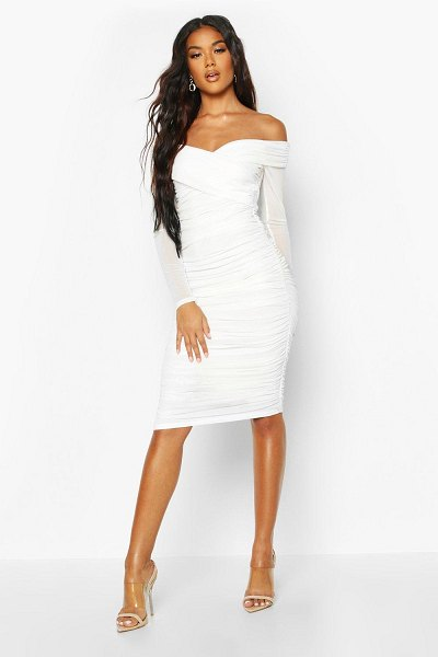 Boohoo Off Shoulder Ruched Mesh Bodycon Midi Dress in white
