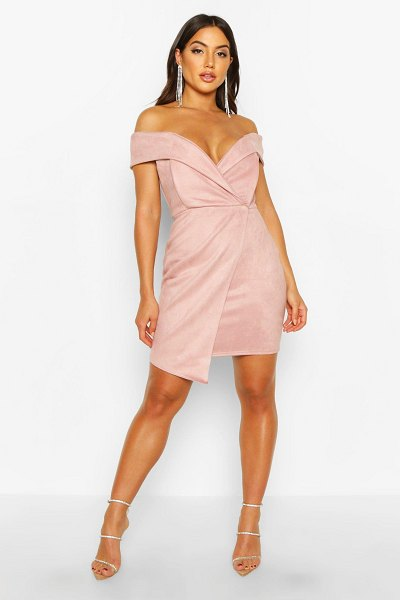 Boohoo Off The Shoulder Bonded Suede Mini Dress in nude