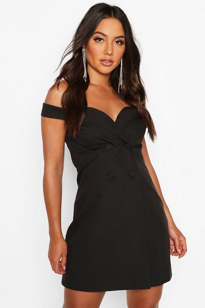 Boohoo Off The Shoulder Fitted Blazer Dress in black