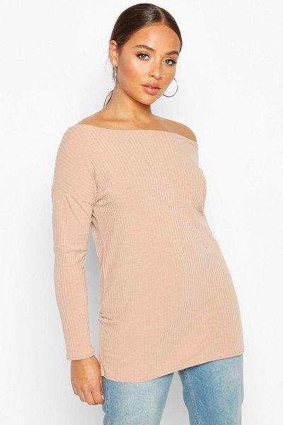 Boohoo Off The Shoulder Oversized Rib Knit Sweater in stone