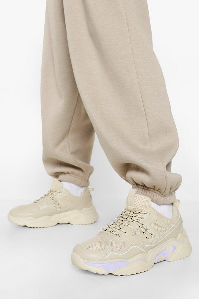 Boohoo Official Cleated Sole Chunky Sneakers in stone