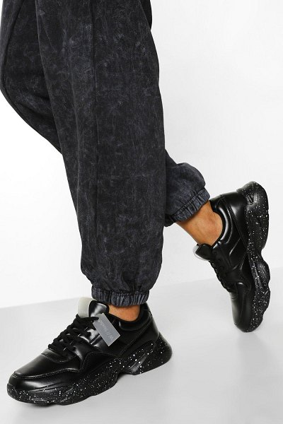 Boohoo Official Speckle Sole Chunky Sneakers in black