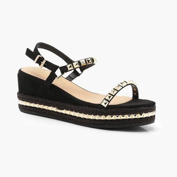 9281a41478d Boohoo Stud Detail Espadrille Flatform Wedges - We ll make sure your shoes  keep you