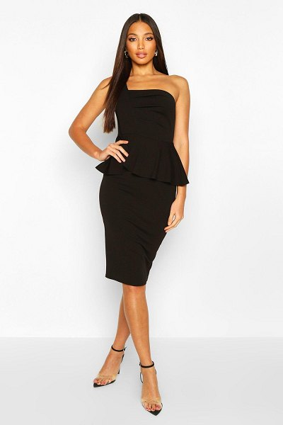 Boohoo One Shoulder Pleated Peplum Bodycon Midi Dress in black