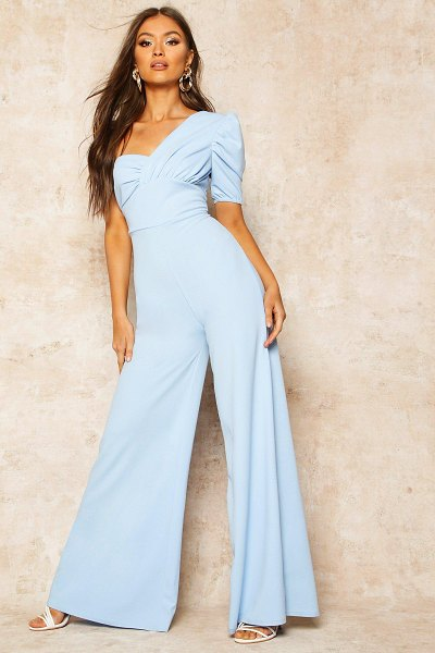 Boohoo One Shoulder Puff Sleeve Jumpsuit in dusty blue