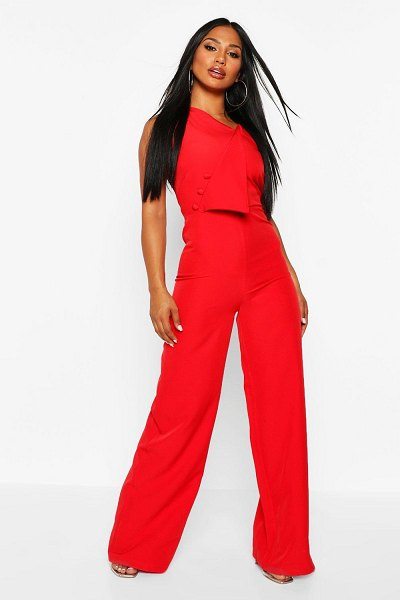 Boohoo One Shoulder Wide Leg Jumpsuit in red