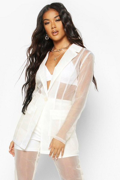 Boohoo Organza Tailored Blazer in nude